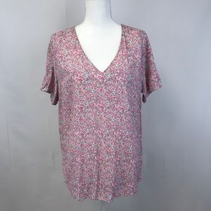 WOMEN'S PINK SIZE 10 H&M SHORT SLEEVE V-NECK TEE